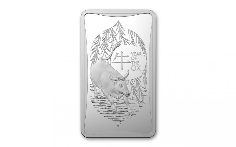 2021 Australia $1 1/2-oz Silver Year of the Ox Frosted Ingot