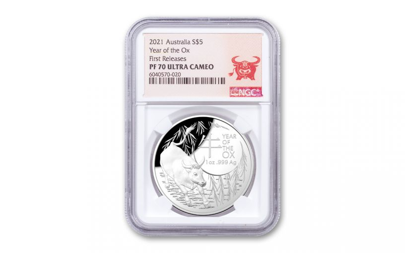 2021 Australia $5 1-oz Silver Lunar Year of the Ox Dome Proof NGC PF70UC First Releases