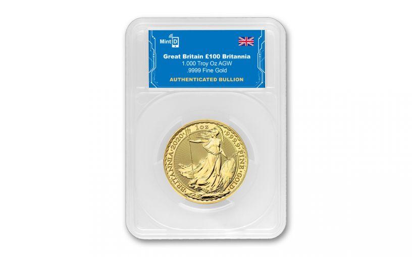 2020 Great Britain £100 1-oz Gold Britannia BU w/Mint ID AES-128 Bit Encrypted NFC Microchip Authentication in MintID Holder