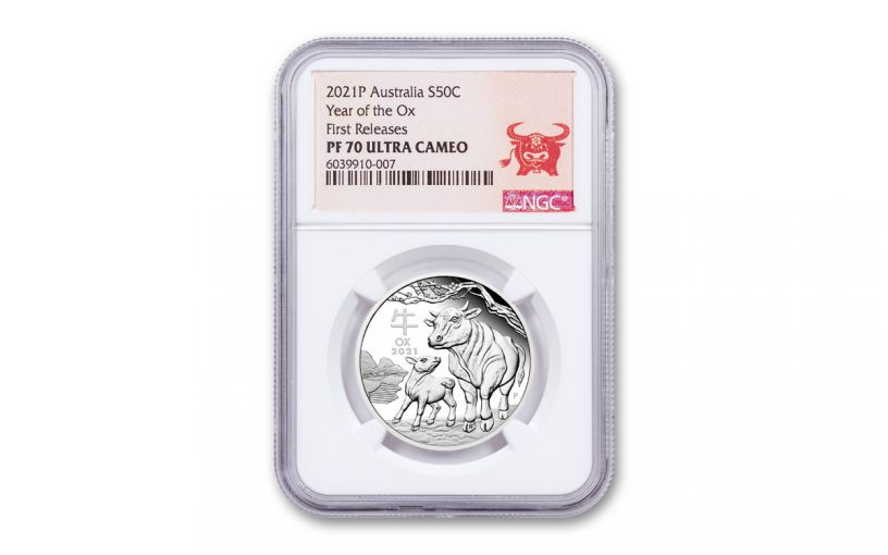 2021 Australia 50₵ 1/2-oz Silver Lunar Year of the Ox Proof NGC PF70UC First Releases
