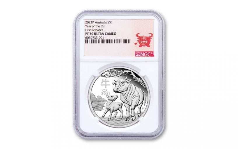 2021 Australia $1 1-oz Silver Lunar Year of the Ox Proof NGC PF70UC First Releases