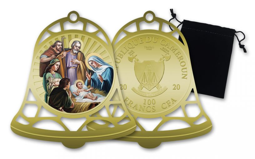 2020 Cameroon 100 Francs CFA 31-gm Copper-Nickel Christmas Bell w/Gold Plating Colorized Uncirculated