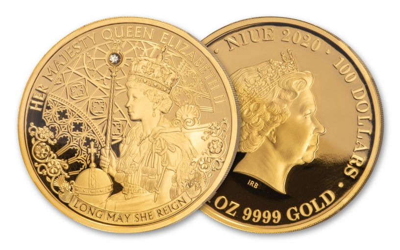 2020 Niue $1 1-oz Gold Queen Elizabeth II Long May She Reign Proof
