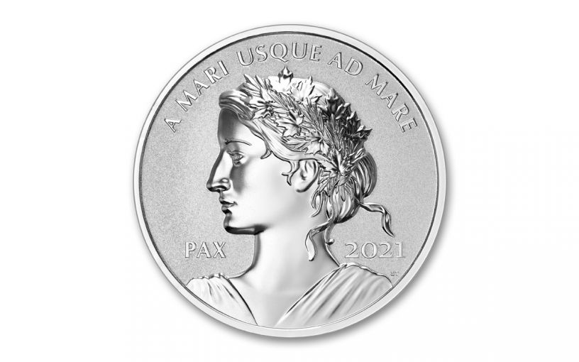 2021 Canada $1 1-oz Silver Peace Dollar Ultra High Relief Reverse Proof Coin in OGP