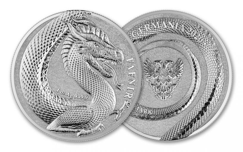 2020 Germania Mint 1-oz Silver Germania Beasts Fafnir Medal BU