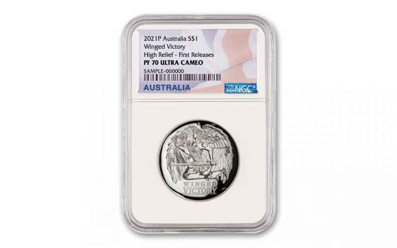 2021 Australia $1 1-oz Silver Winged Victory High Relief NGC PF70UC First Releases w/Flag Label