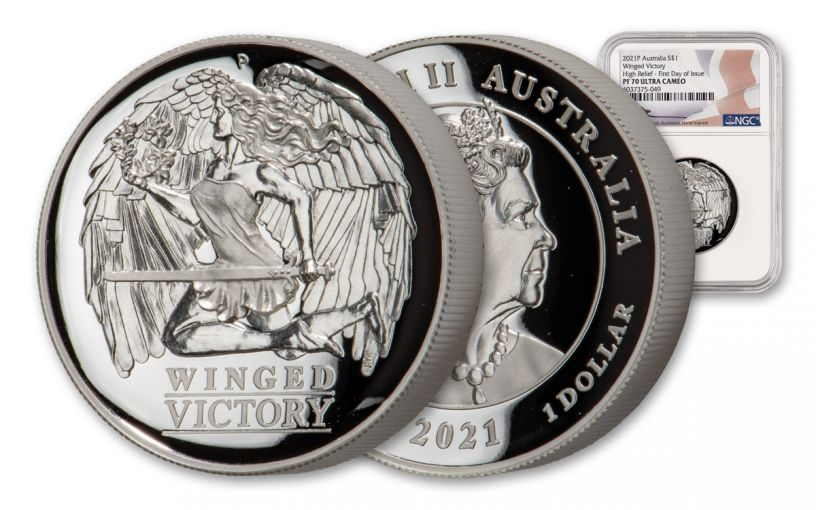 2021 Australia $1 1-oz Silver Winged Victory High Relief NGC PF70UC First Day of Issue w/Flag Label Mercanti Signature