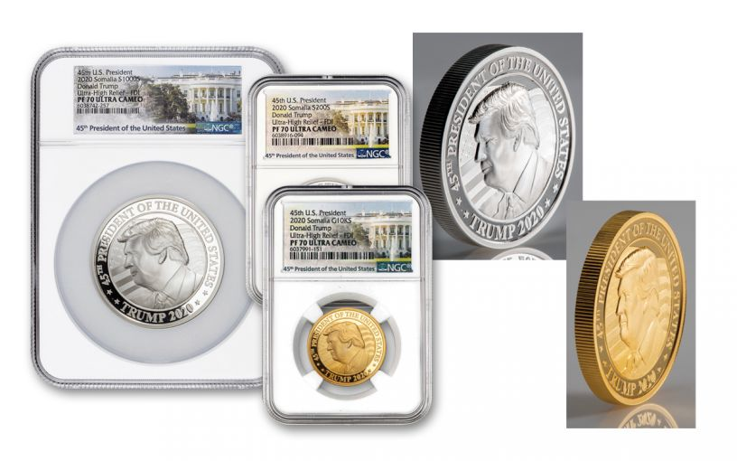 2020 Somalia Gold & Silver Donald Trump Ultra High Relief 3-pc Proof Set PF70 First Day of Issue