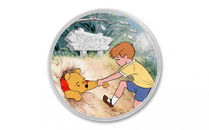 2020 Niue $2 1-oz Silver Disney Winnie the Pooh & Christopher Robin Colorized Proof