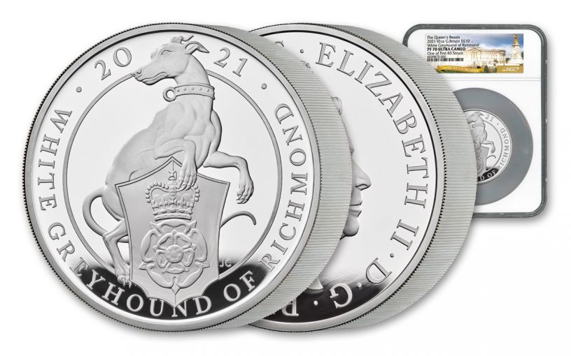 2021 Great Britain £10 10-oz Silver Queen's Beasts White Greyhound of Richmond Proof NGC PF70UC One of First Struck