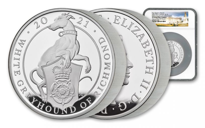 2021 Great Britain £10 10-oz Silver Queen's Beasts White Greyhound of Richmond Proof NGC PF69UC One of First Struck