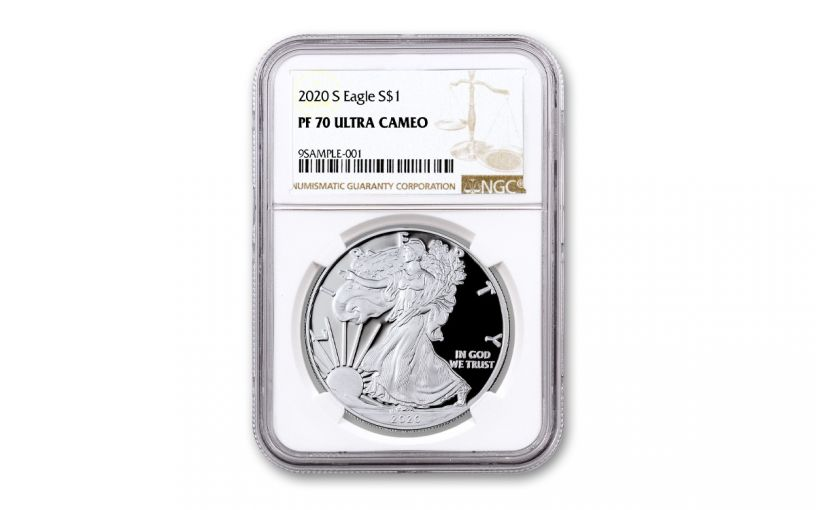 2020-S $1 1OZ SILVER EAGLE NGC PF70UC BROWN LABEL