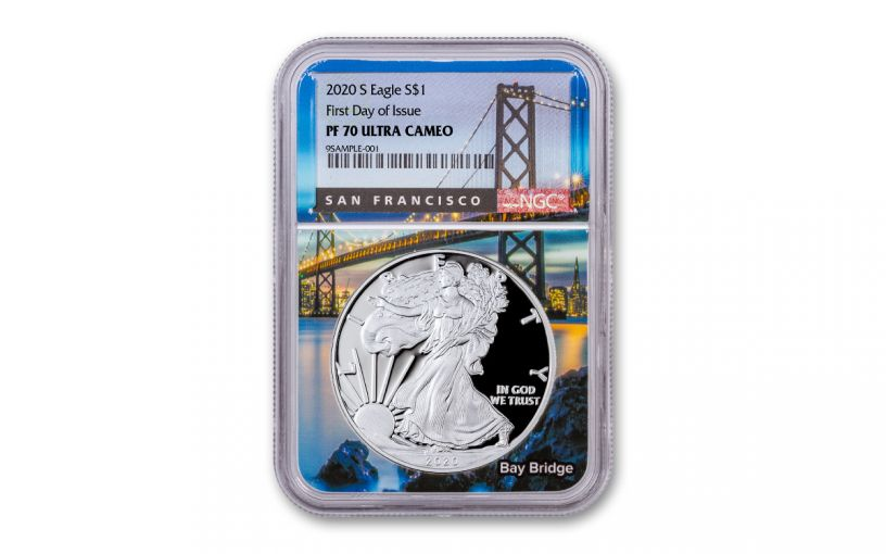 2020-S $1 1OZ SILVER EAGLE NGCPF70UCFDI BAY BRIDGE