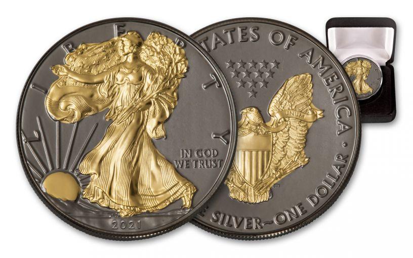 2021 $1 1-oz Silver Eagle BU w/Black Ruthenium & 24-Karat Gold