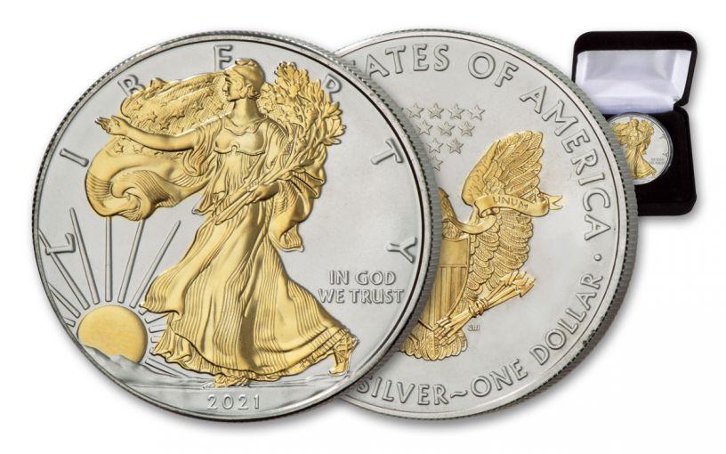 2021 $1 1-oz Silver Eagle BU w/24-Karat Gold Clad Liberty
