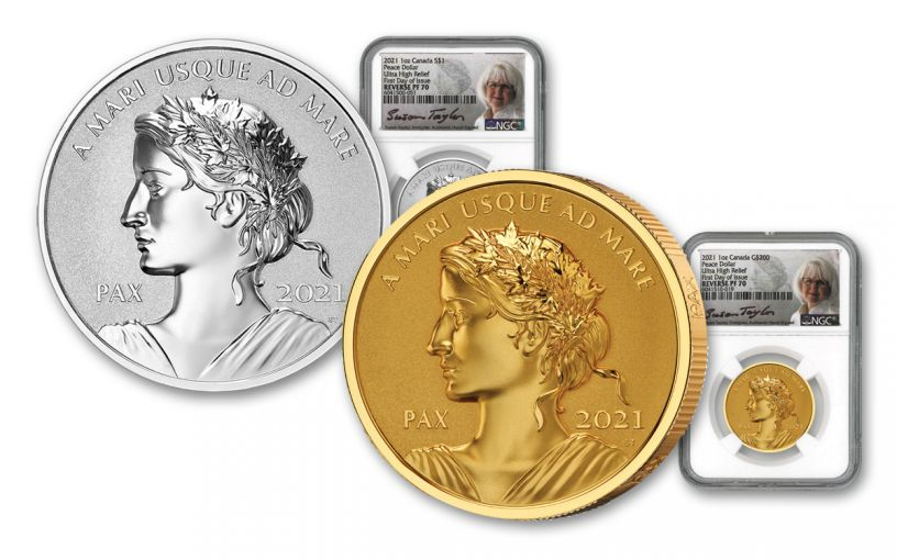2021 Canada 1-oz Gold & Silver Peace Dollar Ultra High Relief Reverse Proof 2-pc Set NGC PF70 First Day of Issue w/Black Core & Taylor Signature