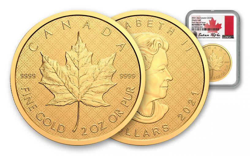 2021 Canada $200 1-oz Gold Peace Dollar Ultra High Relief Reverse Proof NGC PF70 First Day of Issue w/Taylor Signature