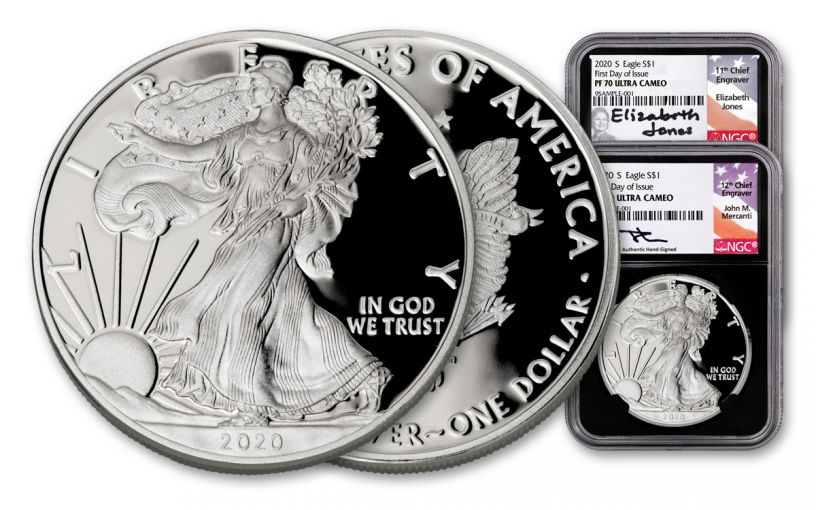 2020-S $1 1-oz Silver Eagle NGC PF70UC First Day of Issue 2-pc Set w/Mercanti & Jones Signatures