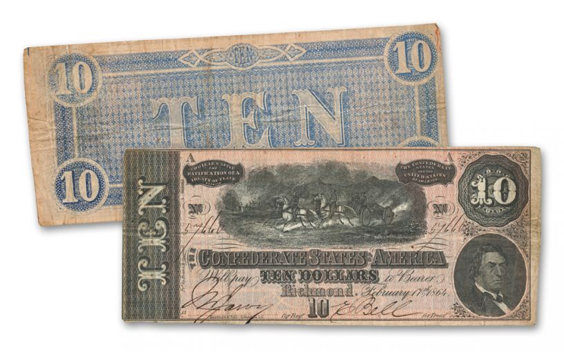 1864 $10 Confederate Paper Currency Note VF–XF