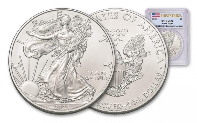 2021 $1 1-oz Silver Eagle Type 1 PCGS MS70 First Strike w/Flag Label
