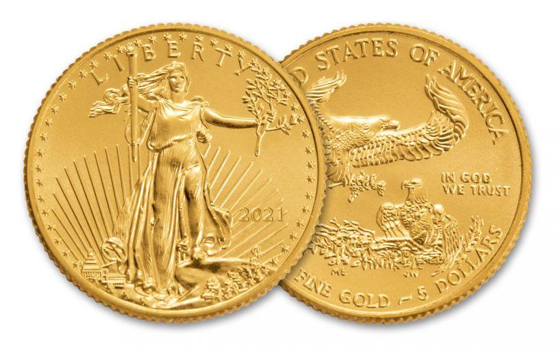 2021 $5 1/10-oz Gold American Eagle Type 1 BU