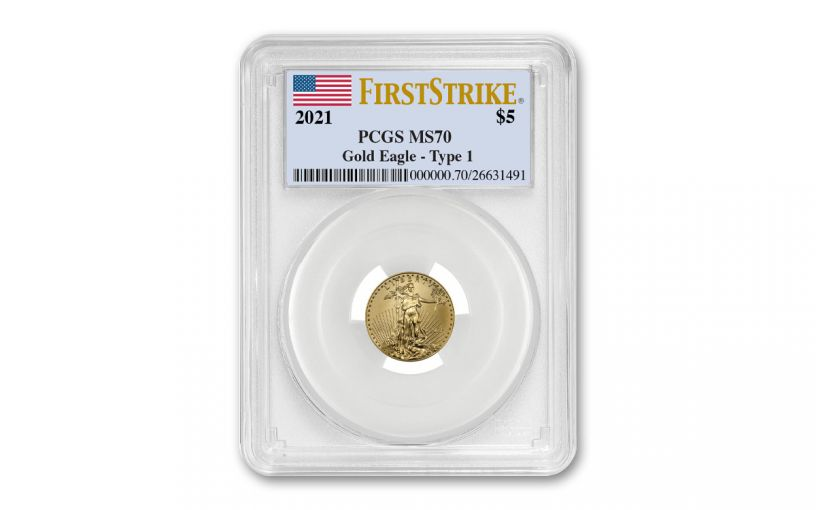 2021 $5 1/10-oz Gold American Eagle PCGS MS70 First Strike w/Flag Label