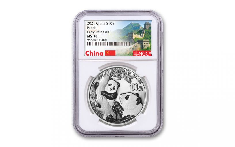 2021 China 30-gm Silver Panda NGC MS70 Early Releases w/Great Wall Label