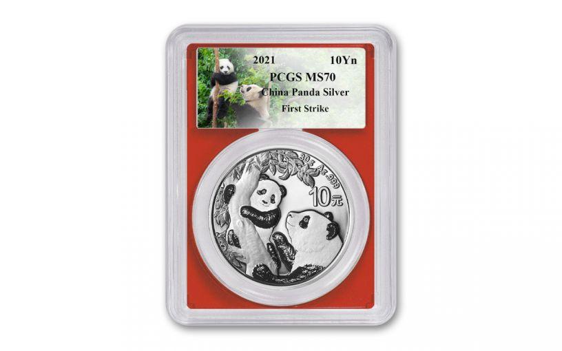 2021 China 30-gm Silver Panda PCGS MS70 First Strike w/Red Core & Panda Label