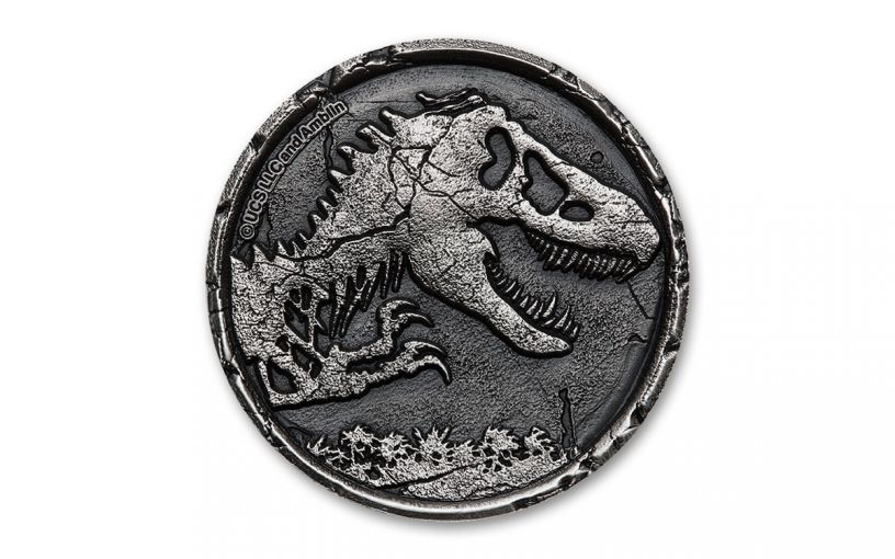 2021 Niue $5 2-oz Silver Jurassic World Cracked High Relief Antiqued
