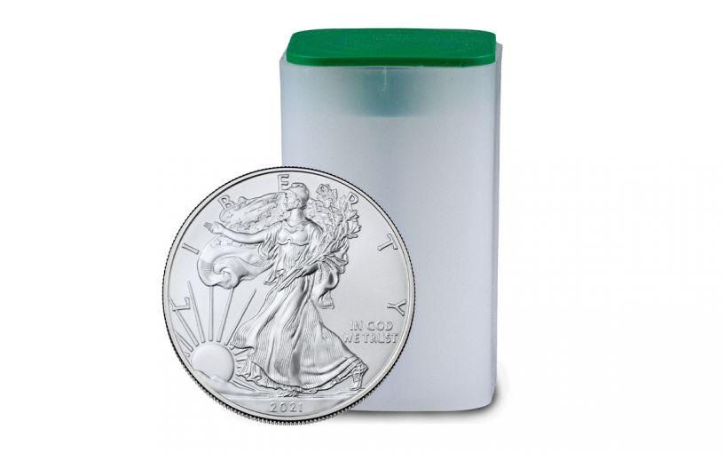 20PC 2021 $1 1OZ SILVER EAGLE BU ROLL
