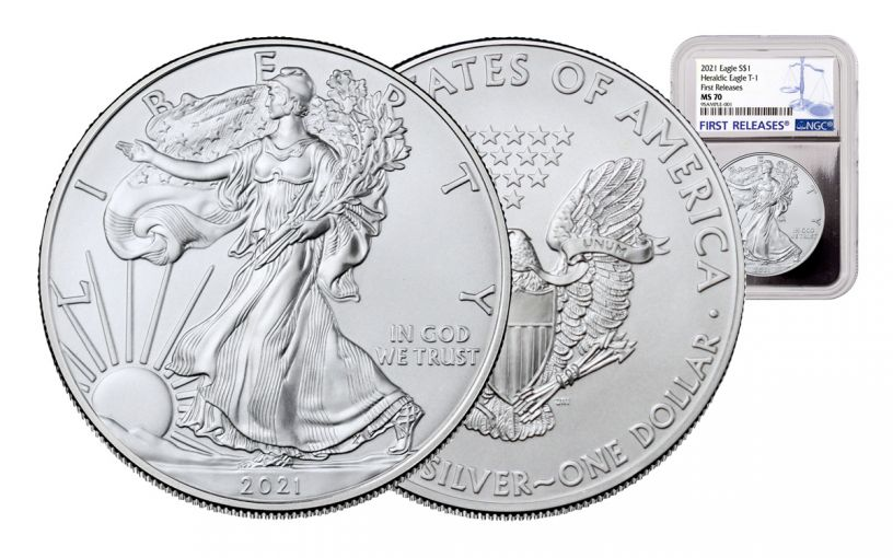 2021 $1 1-oz Silver Eagle NGC MS70 First Releases w/Silver Foil Core & First Releases Label