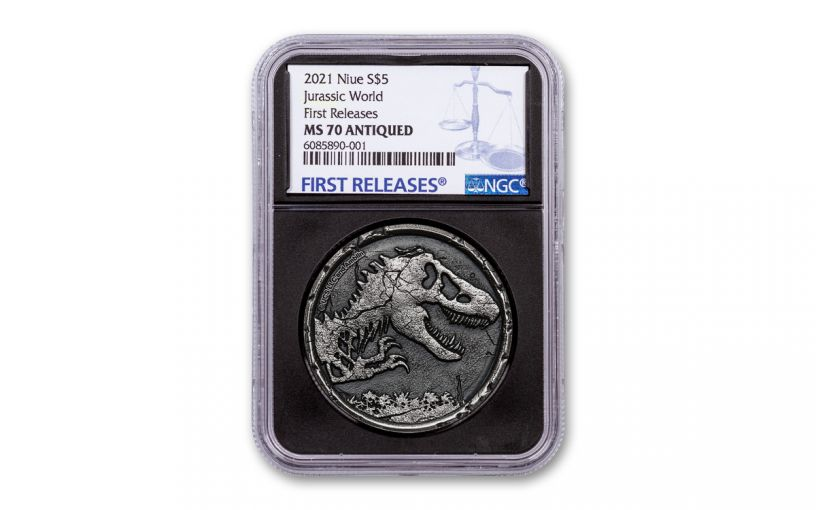 2021 Niue $5 2-oz Silver Jurassic World Cracked High Relief Antiqued NGC MS70 First Releases w/Black Core