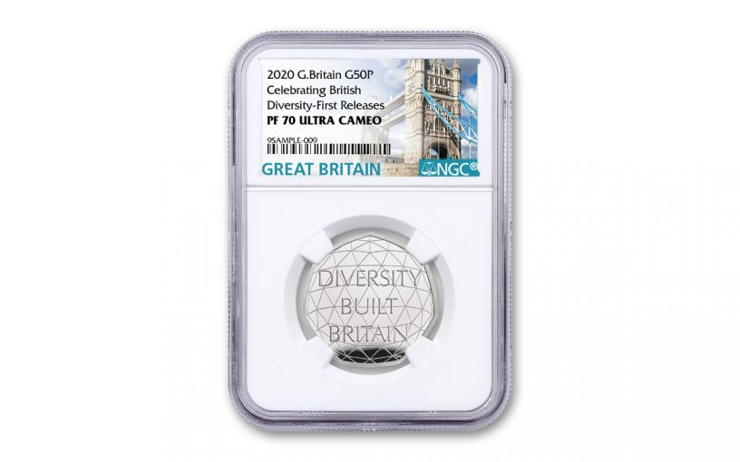 2020 Great Britain 50 Pence 8-gm Silver British Diversity Proof NGC PF70UC First Releases