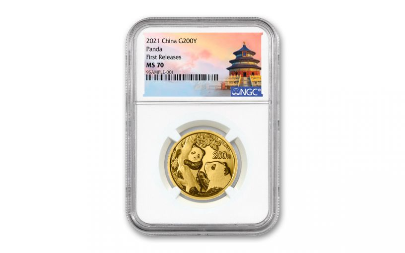 2021 China 15-gm Gold Panda NGC MS70 First Releases w/Temple Label
