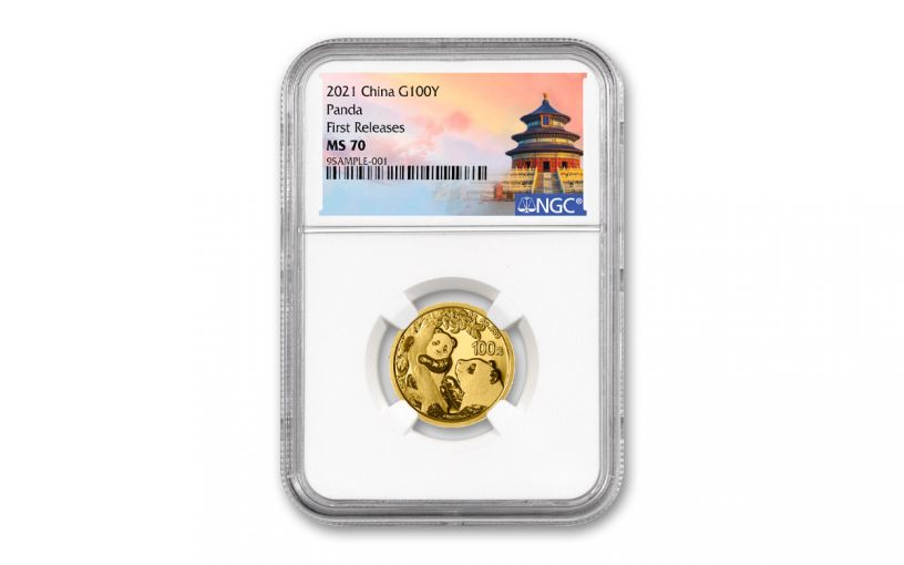 2021 China 8-gm Gold Panda NGC MS70 First Releases w/Temple Label