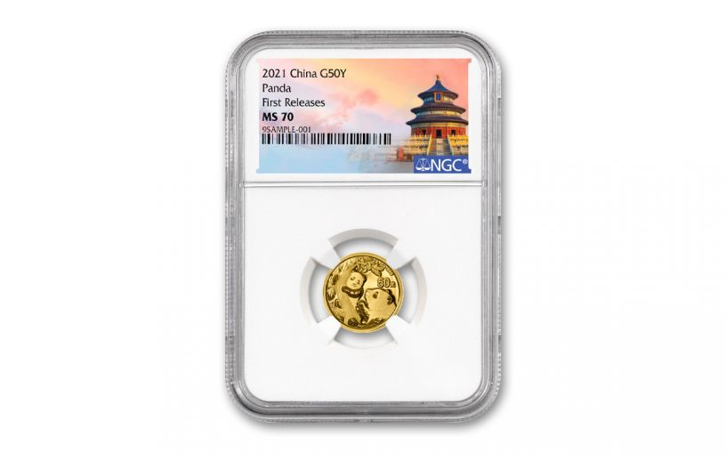 2021 China 3-gm Gold Panda NGC MS70 First Releases w/Temple Label