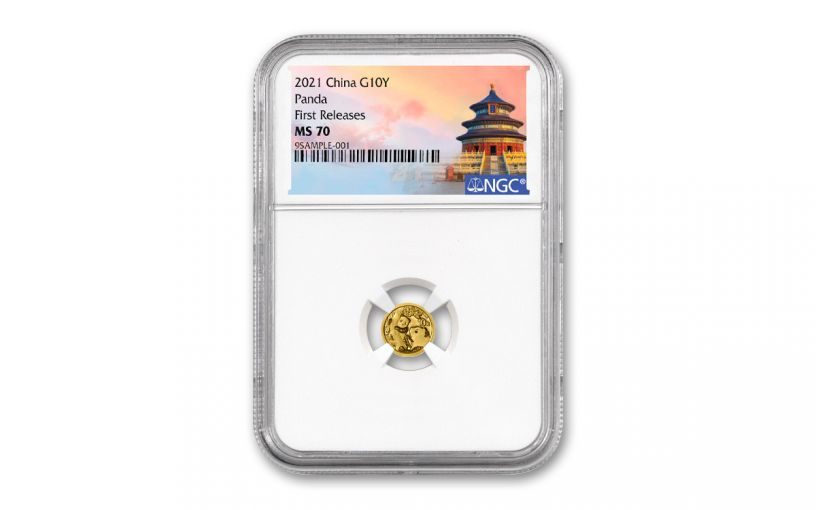 2021 China 1-gm Gold Panda NGC MS70 First Releases w/Temple Label