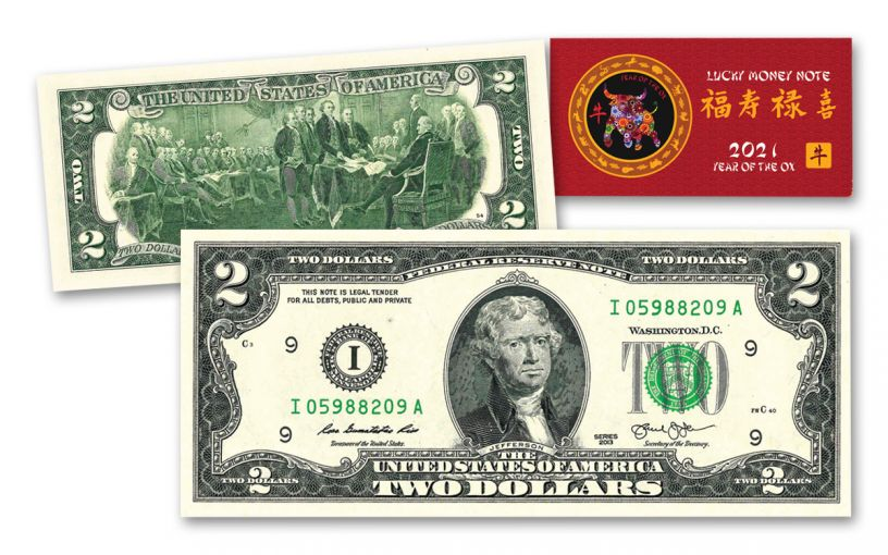 $2 Jefferson Currency Double 88s w/ 2021 Lunar Year of the Ox Card
