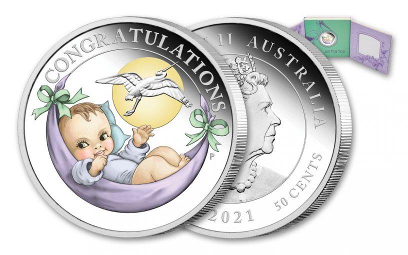 2021 Australia 50 Cents 1/2-oz Silver Newborn Colorized Proof