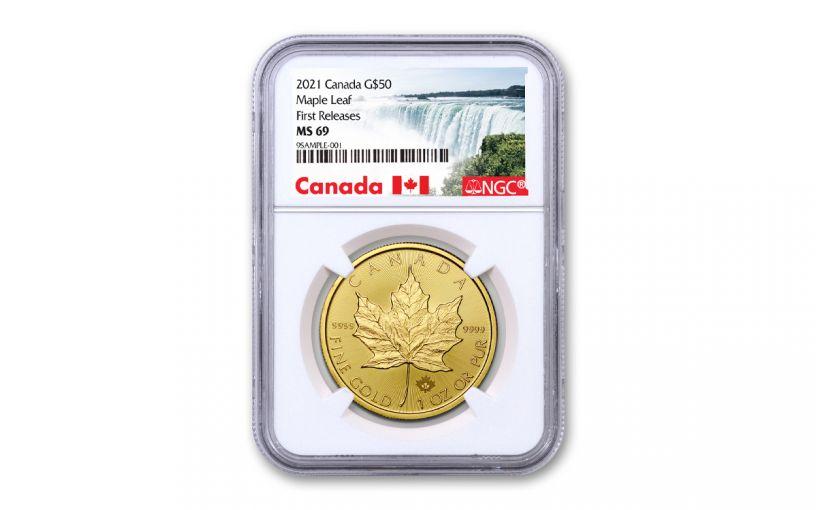 2021 Canada $50 1-oz Gold Maple Leaf Gem NGC MS69 FR w/Canada Label