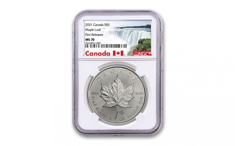 2021 Canada $5 1-oz Silver Maple Leaf Gem NGC MS70 First Releases w/Canada Label