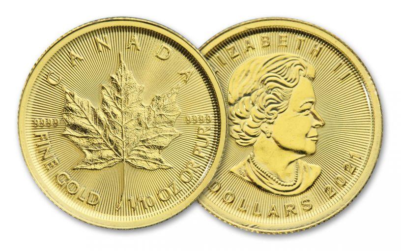 2021 Canada $5 1/10-oz Gold Maple Leaf Gem BU