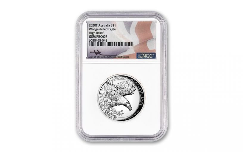 2020 Australia $10 10-oz Silver Wedge-Tailed Eagle High Relief Proof NGC Gem Proof w/Mercanti Signature