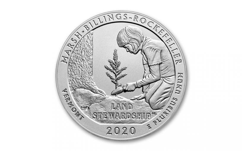 2020 America the Beautiful Quarter 5-oz Silver Marsh-Billings-Rockefeller National Historical Park Specimen