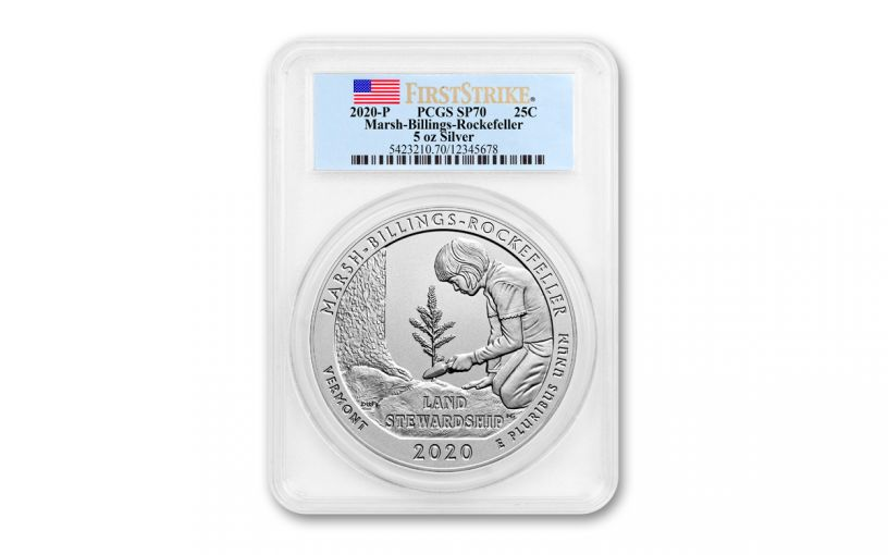 2020 America the Beautiful Quarter 5-oz Silver Marsh-Billings-Rockefeller National Historical Park Specimen PCGS SP70 First Strike w/Flag Label