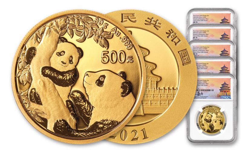 2021 China Gold Panda 5-Coin Prestige Set NGC MS70 First Day of Issue Struck at Shenzhen Mint w/Signed Labels
