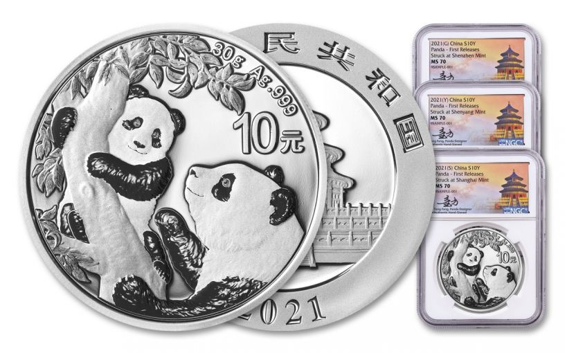 2021 China 30-gm Silver Panda NGC MS70 First Releases 3-pc Mint Set w/Tong Fang Signature