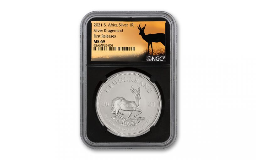 2021 South Africa 1-oz Silver Krugerrand NGC MS69 First Releases w/Black Core & Springbok Label