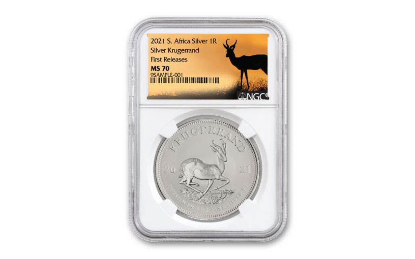 2021 South Africa 1-oz Silver Krugerrand NGC MS70 First Releases w/Springbok Label