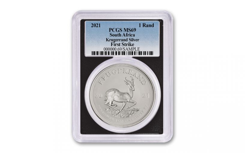 2021 1oz Silver Krugerrand PCGS MS69 FS (black core)